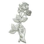Τριαντάφυλλα χρωμίου_ορειχάλκινα (Υψ.20,5ΧΠλ.10) κωδ.35-6455