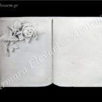 Βιβλίο με ρόδο λευκό_πολυεστερικό (Υψ.32ΧΠλ.42) κωδ.032