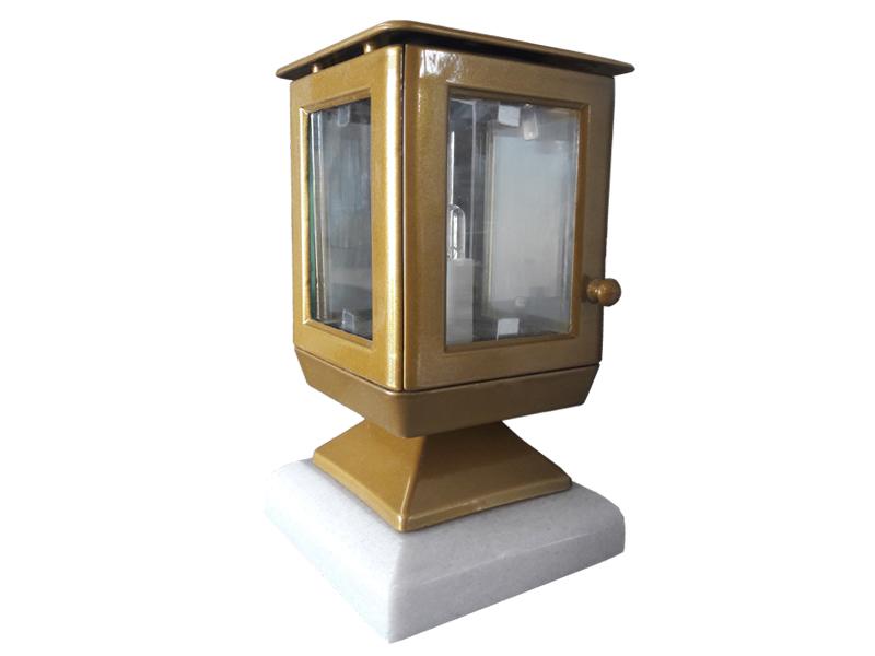 Ηλεκτρικό καντήλι μπρονζέ_αλουμινίου με πόδι (Υψ.23 εκ. και 20 εκ. χωρίς τη μαρμάρινη βάση Χ Πλ.10 εκ.) κωδ.102.12