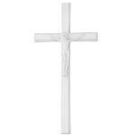 Σταυρός με τον Εσταυρωμένο λευκός_αλουμινίου (Υψ.33ΧΠλ.16) κωδ.118.5 ή (Υψ.44,5ΧΠλ.20,5) κωδ.118.3